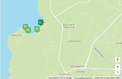 Toskana Strand Karte.Strand Von Baratti Beach Populonia Karte Landkarte