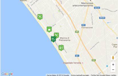 Karte des Strandes von Marina di Pietrasanta