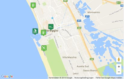 Toskana Strand Karte.Strand Von Viareggio Karte Landkarte Routenplaner Urlaub