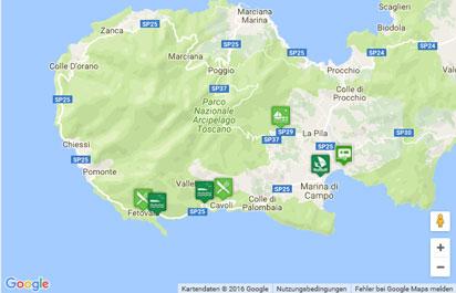 Toskana Strand Karte.Fetovaia Bucht Auf Der Insel Elba Karte Landkarte Routenplaner
