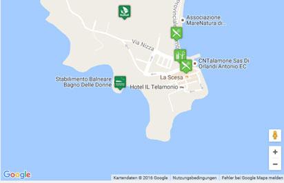 Karte der Strände Beachpark und Bagno delle Donne in Talamone