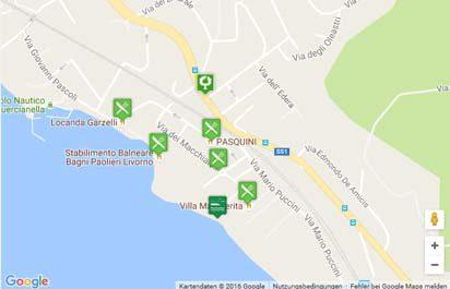 Karte der Strände bei Quercianella nahe Livorno