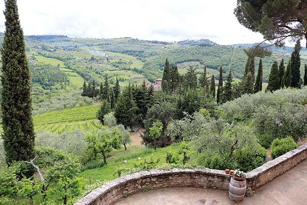 Die Landschaft im Chianti der Villa di Vignamaggio aus gesehen