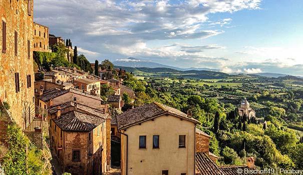 Blick auf Val d'Orcia vom Montepulciano
