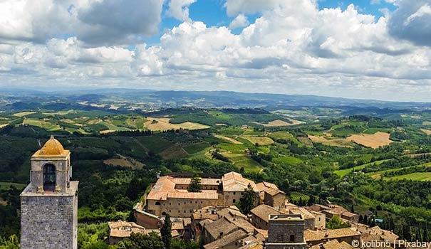 Panoramablick über San Gimignano und der Umgebung